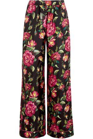 Dolce & Gabbana Woman Floral-print Silk Wide-leg Pants Multicolor Size 44