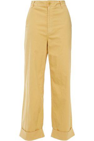 J Brand Woman Ebbe Stretch-cotton Wide-leg Pants Mustard Size 24