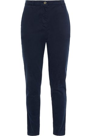 American Vintage Woman Cotton-blend Twill Slim-leg Pants Navy Size L