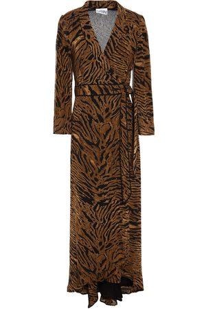 Ganni Woman Asymmetric Printed Georgette Wrap Dress Animal Print Size 32