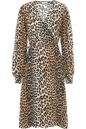 Ganni Woman Leopard-print Crepe De Chine Wrap Dress Animal Print Size 32