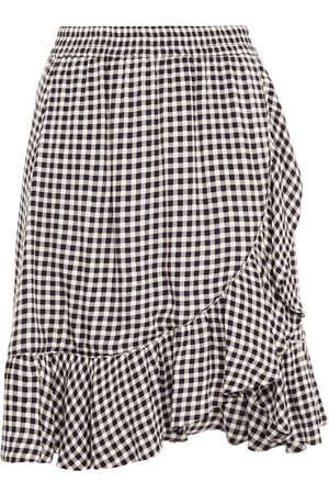 Ganni Woman Wrap-effect Printed Crepe Mini Skirt Size 32