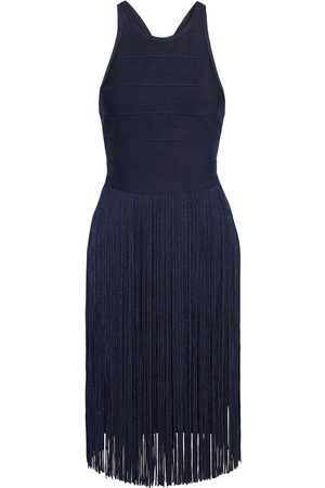 Hervé Léger Hervé Léger Woman Fringed Bandage Mini Dress Midnight Size L