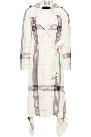 Roland Mouret Woman Belted Checked Gabardine Trench Coat Ivory Size 10