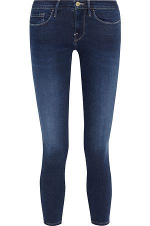 Frame Women Skinny - Woman Le Skinny De Jeanne Crop Faded Mid-rise Skinny Jeans Dark Denim Size 29