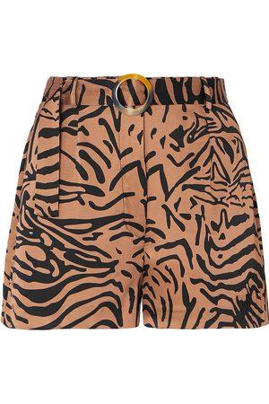 De La Vali Woman Kid Belted Tiger-print Satin Shorts Animal Print Size 10
