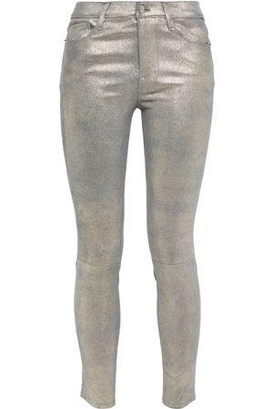 Frame Woman Metallic Brushed-leather Skinny Pants Size 23