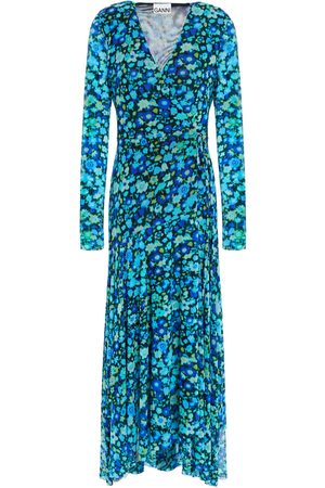 Ganni Women Midi Dresses - Woman Printed Stretch-mesh Midi Wrap Dress Turquoise Size 32