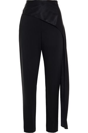 Michelle Mason Woman Draped Charmeuse And Stretch-crepe Tapered Pants Size 0