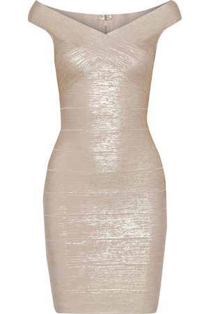 Hervé Léger Hervé Léger Woman Metallic Bandage Mini Dress Rose Size M