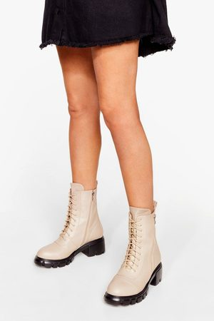 NASTY GAL Womens Zip the Small Talk Lace-Up Biker Boots