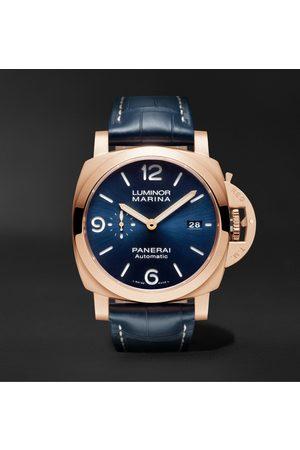 PANERAI Men Watches - Luminor Marina Sole Blu Automatic 44mm Goldtech and Alligator Watch, Ref. No. PAM01112