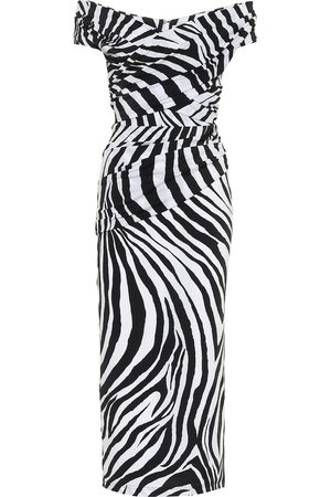 HALPERN Off-shoulder zebra-print midi dress