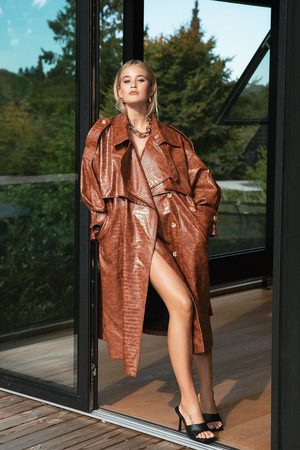 Nasty Gal Womens Croc Faux Leather Belted Trench Coat