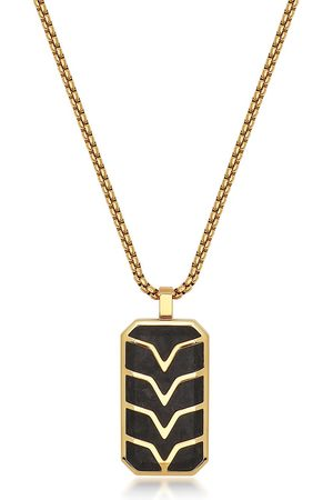 Nialaya Chevron-detail dog tag necklace
