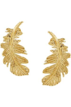 Alex Monroe 18kt yellow Plume Feather stud earrings