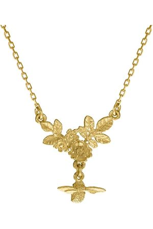 Alex Monroe 18kt yellow bee drop floral cluster necklace