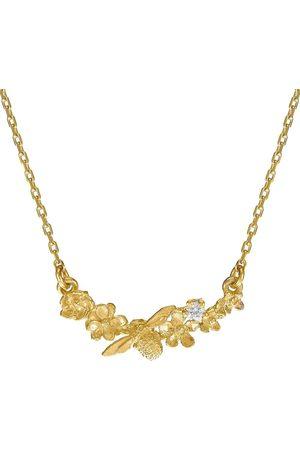 Alex Monroe 18kt yellow Floral Curve diamond necklace