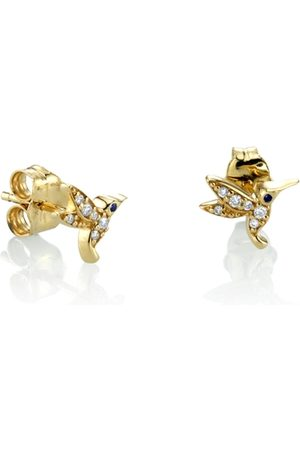 The Alkemistry Sydney Evan 14ct Gold Diamond Hummingbird Stud Earring (single)