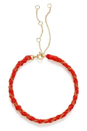 The Alkemistry 18ct Gold Kumachi Bracelet With Coral Silk Cord