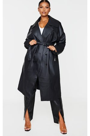 PRETTYLITTLETHING Plus Faux Leather Drop Arm Midi Trench