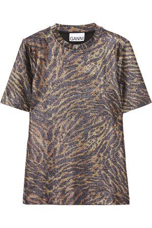 Ganni Woman Metallic Printed Jersey T-shirt Size 32