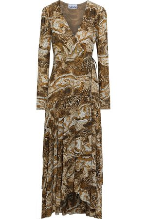 Ganni Woman Asymmetric Printed Stretch-mesh Midi Wrap Dress Animal Print Size 32