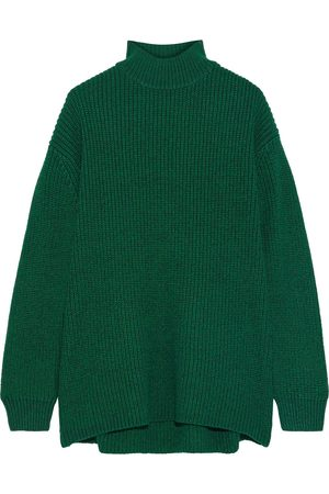 ALICE+OLIVIA Woman Sarah Open-back Ribbed Wool-blend Turtleneck Sweater Emerald Size L