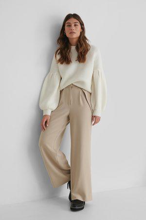 The Fashion Fraction x NA-KD Button Detail Waist Suit Pants - Beige