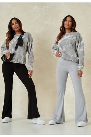 Missguided And Grey Jersey Flared Trousers 2 Pack