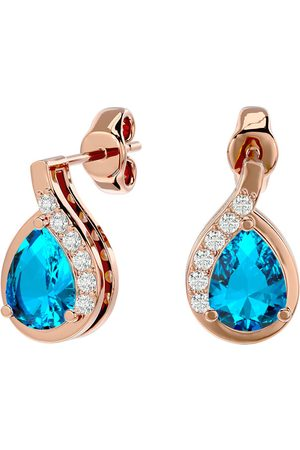 SuperJeweler 1 3/4 Carat Blue Topaz & Diamond Pear Shape Stud Earrings in 14K Rose (2 g), I/J