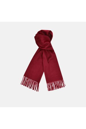 Turnbull & Asser Monogrammed Bordeaux Pure Cashmere Scarf