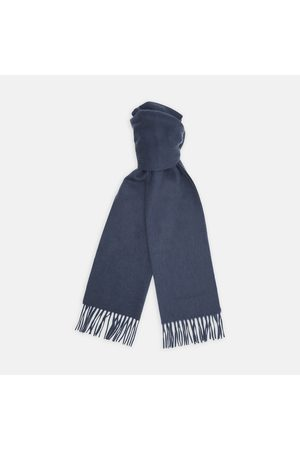 Turnbull & Asser Monogrammed Slate Pure Cashmere Scarf