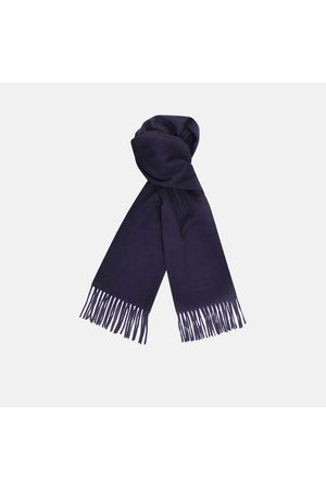 Turnbull & Asser Monogrammed Navy Pure Cashmere Scarf