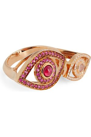 NETALI NISSIM Rose Gold, Quartz, Ruby and Diamond Protected Ring