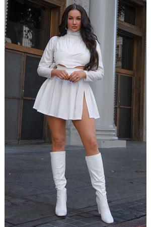PRETTYLITTLETHING Pleated Side Split Tennis Skirt
