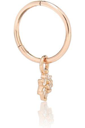 Maria Tash Flower 18kt rose single earring with diamonds