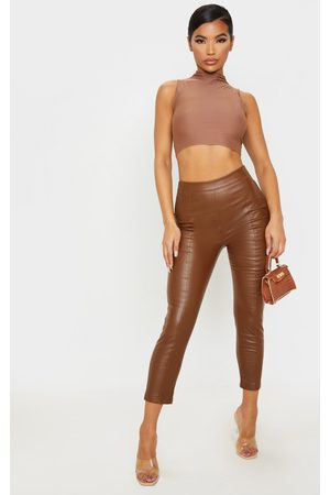 PrettyLittleThing Chocolate Daysha Cropped Faux Leather Trousers
