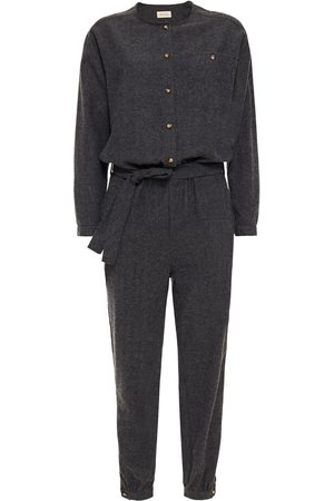 American Vintage Women Jumpsuits - Woman Belted Brushed Cotton-blend Twill Jumpsuit Anthracite Size L