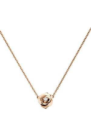 PIAGET Women Necklaces - Rose and Diamond Rose Pendant Necklace