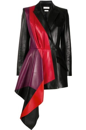 Alexander McQueen Women Leather Jackets - Contrasting panel draped jacket