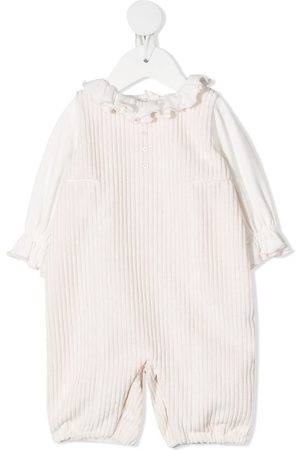 LA STUPENDERIA Ruffle top and dungaree set - Neutrals