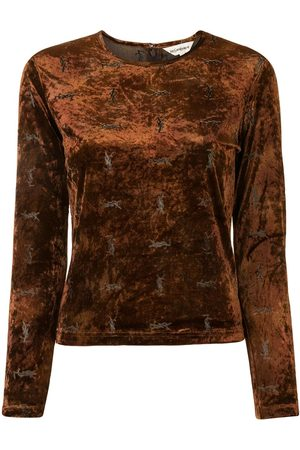 Yves Saint Laurent Logo pattern velvet blouse