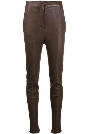 Balmain High-waisted leather skinny trousers