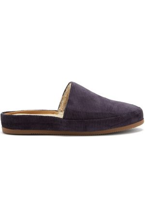 Mulo Shearling-lined Corduroy Slippers - Mens - Navy