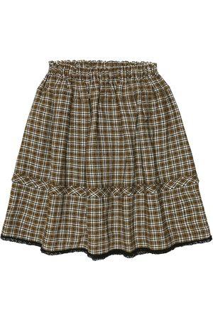 Caramel Checked wool-blend skirt