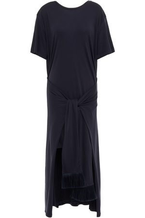 MOTHER OF PEARL Woman Knotted Stretch Jersey Dress Navy Size L