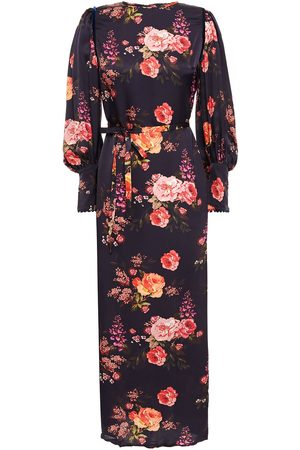 MOTHER OF PEARL Woman Velvet-trimmed Floral-print Jacquard Midi Dress Navy Size 10