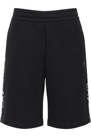 EA7 Logo Printed Cotton Blend Sweat Shorts