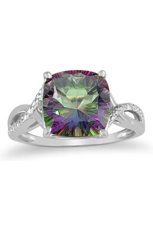 SuperJeweler Women Rings - 4 Carat Cushion Cut Mystic Topaz & 2 Diamond Ring in Sterling , I-J, Size 5